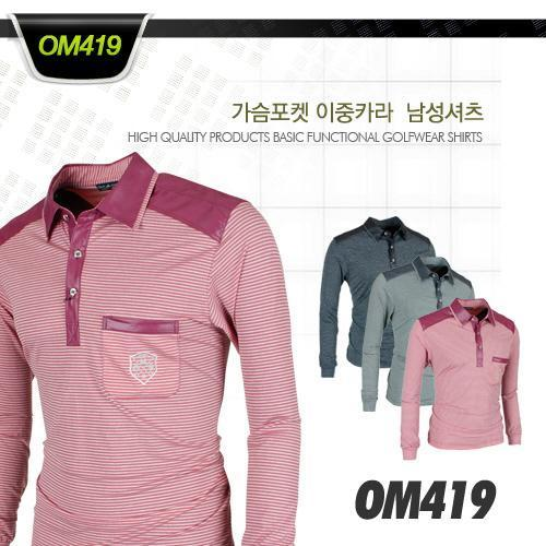 [국내생산]OMASHARIF 가슴포켓 이중카라  남성셔츠 Style no_OM419