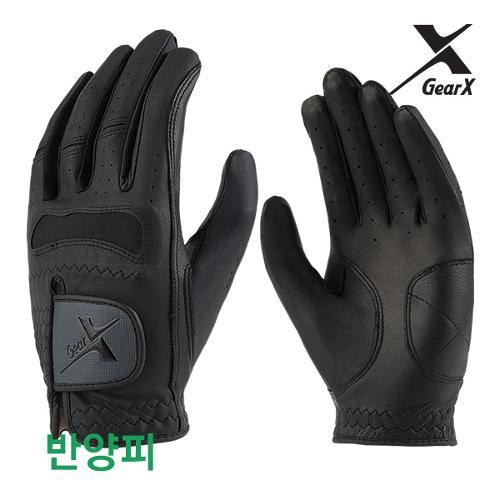 [기어엑스] 골프장갑-남자 검정 반양피 1장