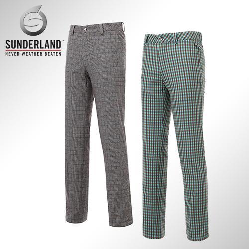 [Sunderland Of Scotland] 선덜랜드 남성 노턱 자수로고 체크무늬 면 스판소재 골프바지/팬츠 - 16441PT03