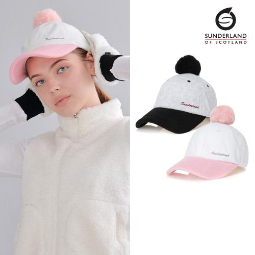 [Sunderland Of Scotland] 선덜랜드 여성 겨울 방한 자수로고 방울 속귀마개 모자 - 16642CP31