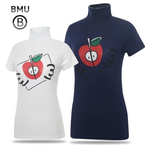 [BMU] 냉감 폴리스판 상큼애플 여성 하프넥 반팔 티셔츠_198490