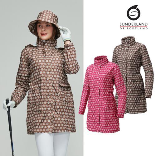 선덜랜드 여성 헥사곤 패턴 심실링 소매탈부착 레인코트/사파리비옷(후드삽입형) - 16812RC21