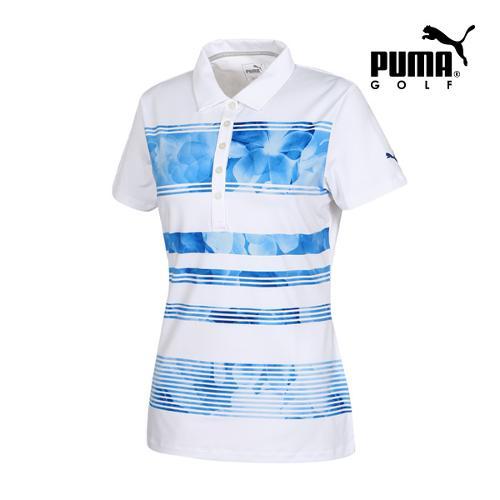 [푸마골프] 여성 BLOOM 스트라이프 PK 반팔 티셔츠 57371002_GA