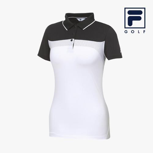 [FILA GOLF] 여성 컬러블럭 카라넥 반팔티셔츠 FG2TSA2204F-BLK_GA