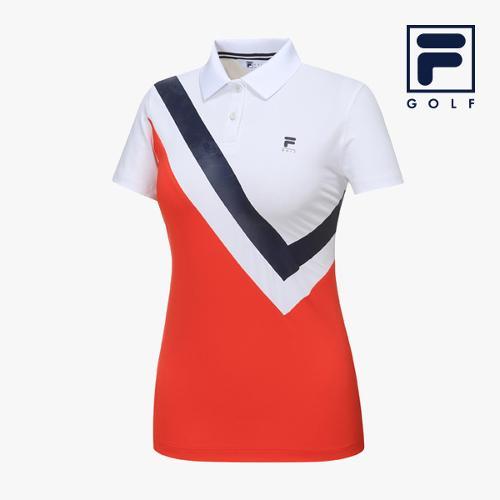 [FILA GOLF] 여성 사선절개배색 카라넥 반팔티셔츠 FG2TSA2260F-WHI_GA