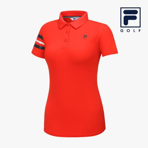 [FILA GOLF] 여성 라인배색 카라넥 반팔티셔츠 FG2TSA2258F-RED_GA