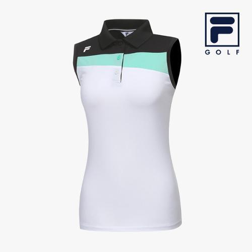 [FILA GOLF] 여성 컬러블럭배색 카라넥 민소매 티셔츠 FG2TSA2209F-WHI_GA