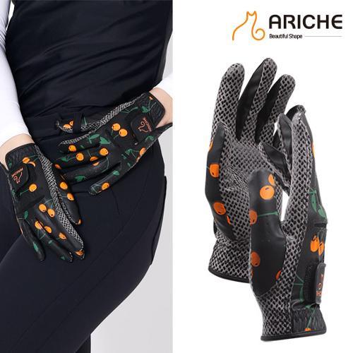 [아리체]오렌지 체리패턴 여성골프 합피양손장갑