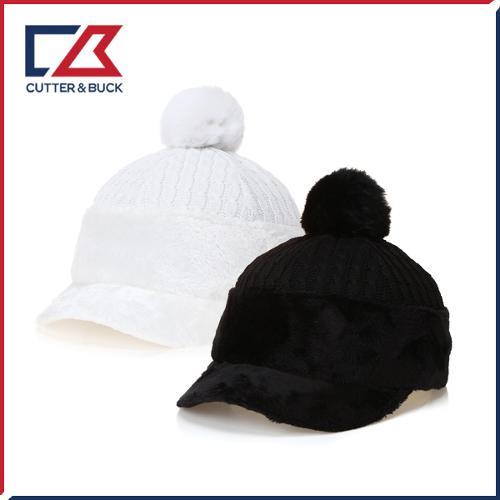 커터앤벅 여성 겨울 방한 니트소재 방울 속귀마개 모자 - 14-184-214-83