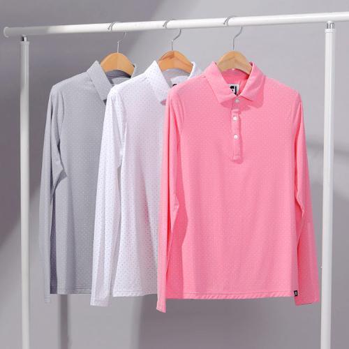 풋조이 선 프로텍션 도트 프린트 여성 긴팔 티셔츠