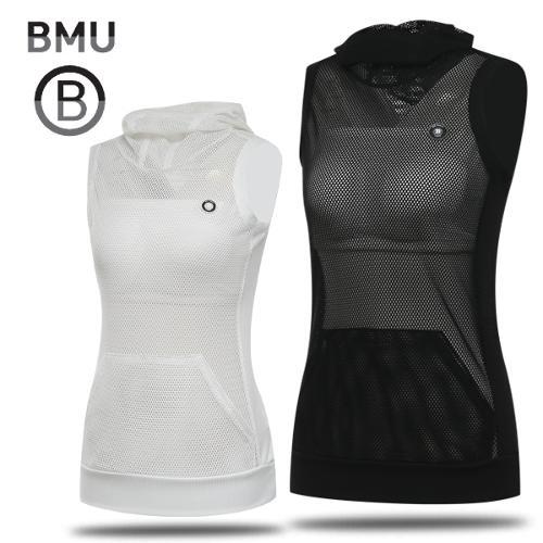 [BMU 골프웨어] 스트레치 전면 메쉬 여성 후드넥 민소매티셔츠/골프웨어_245163