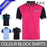 풋조이 COLOUR BLOCK 남성 반팔 셔츠 4종택1