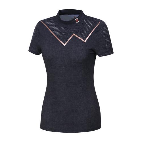 [와이드앵글] 여성 W리미티드 펀칭 반소매 하이넥 티셔츠 WWM19206N2 (WWM19206N2)