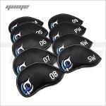 YUME 블루패치 아이언커버 셋트(4~SW)9개입 클럽커버 골프커버 고급커버