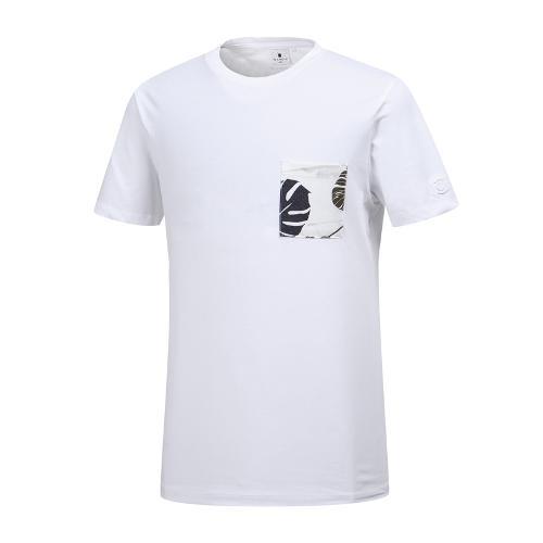 [와이드앵글] 남성 나뭇잎 패턴 포켓 라운드 티셔츠 WMM19250W2