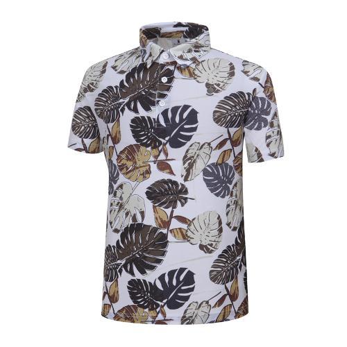 [와이드앵글] 남성 나뭇잎 패턴 티셔츠 WMM19245W2