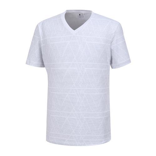 [와이드앵글] 남성 기하학 패턴 V넥 티셔츠 WMM19247C2
