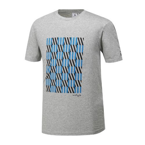 [와이드앵글] 남성 기하학 패턴 포인트 라운드 티셔츠 WMM19251C4