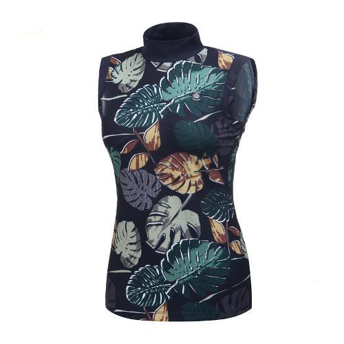 [와이드앵글] 여성 리프패턴 시리즈 슬리브리스 티셔츠 2 WWM19244N4