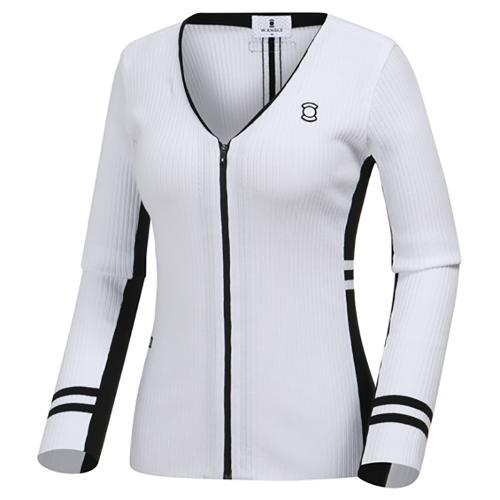 [와이드앵글] 여성 면블럭 V넥 가디건형 스웨터 WWP19K02W2