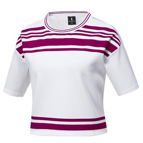 [와이드앵글] 여성 부분 메쉬 숏기장 티셔츠 WWM17276W2