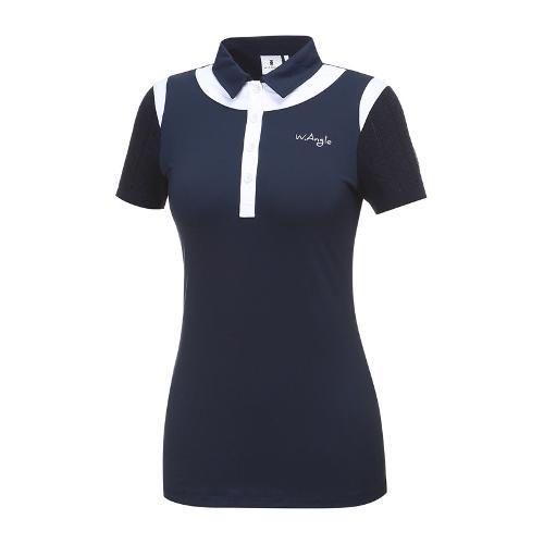 [와이드앵글] 여성 조직 니트소매 카라 티셔츠 WWM18243N4