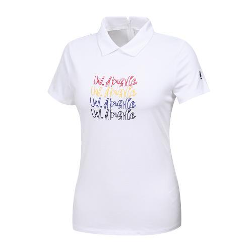 [와이드앵글] 여성 로고포인트 심플 카라티셔츠 WWM19234W2