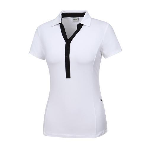 [와이드앵글] 여성 클럽스칸딕 넥변형 카라티셔츠 WWM19247W2