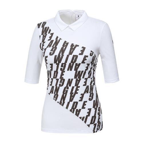 [와이드앵글] 여성 로고 워딩프린트 변형카라 티셔츠 WWM19222W2