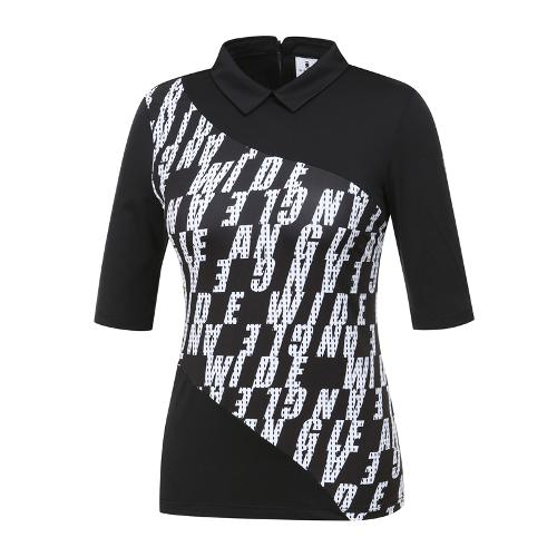 [와이드앵글] 여성 로고 워딩프린트 변형카라 티셔츠 WWM19222Z1