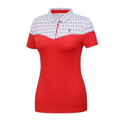 [와이드앵글] 여성 패턴블럭형 카라 티셔츠 WWM19235R2