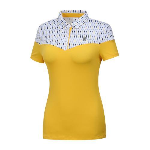 [와이드앵글] 여성 패턴블럭형 카라 티셔츠 WWM19235Y4
