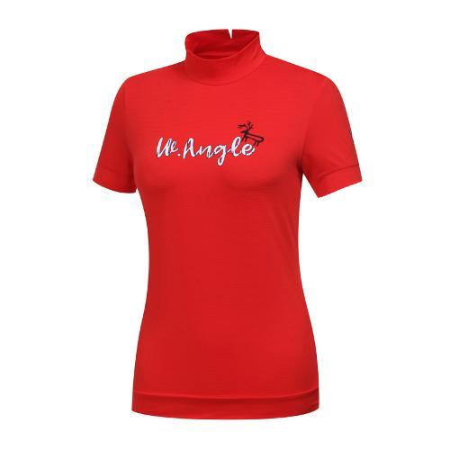 [와이드앵글] 여성 심플 원포인트 하이넥 티셔츠 WWM19237R2