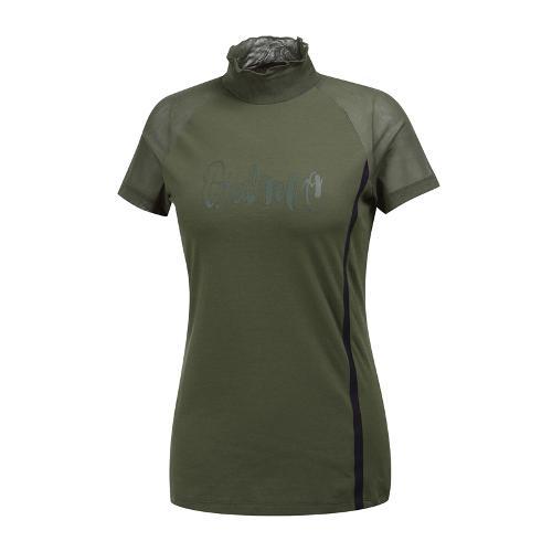 [와이드앵글] 여성 메쉬믹스 변형하이넥 티셔츠 WWM19239K7