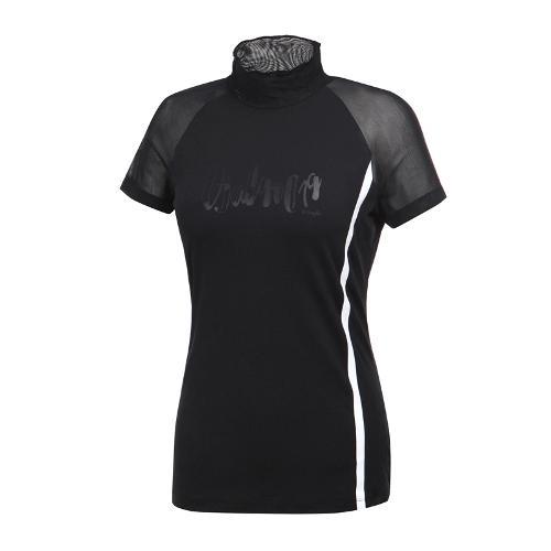 [와이드앵글] 여성 메쉬믹스 변형하이넥 티셔츠 WWM19239Z1
