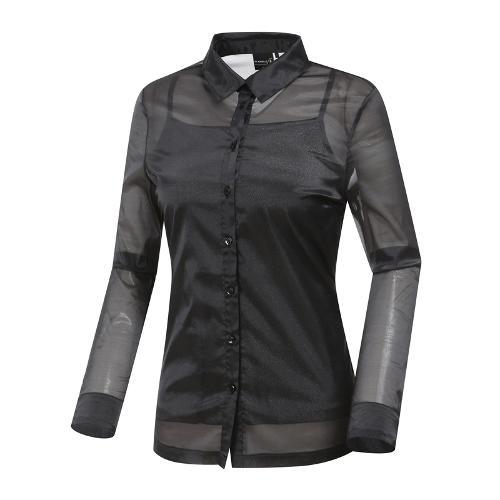 [와이드앵글] 여성 클럽스칸딕 시스루 셔츠형 티셔츠 WWM19252Z1