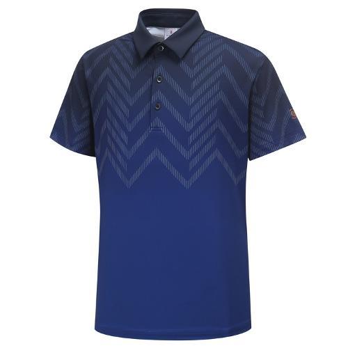 [와이드앵글] 남성 간절 보더 그라데이션 패턴 반팔 티셔츠 WMU19202N4