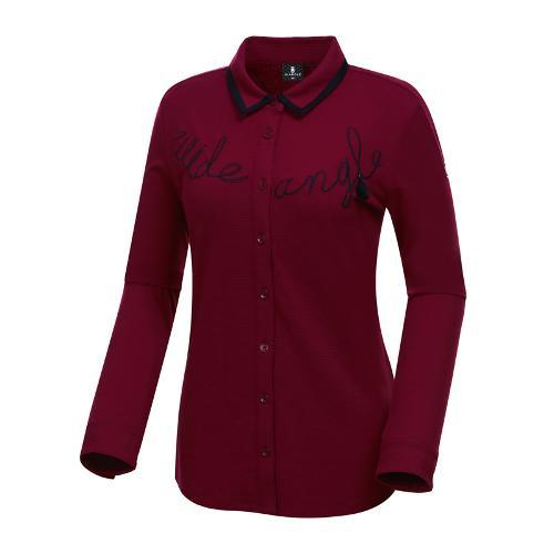 [와이드앵글] 여성 레터링 포인트 셔츠형 긴팔 티셔츠 WWU18245R8