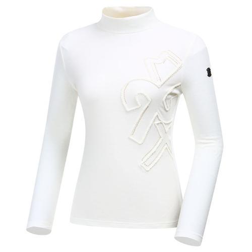 [와이드앵글] 여성 클럽스칸딕 자수포인트 하이넥 긴팔 티셔츠 WWW19235W5