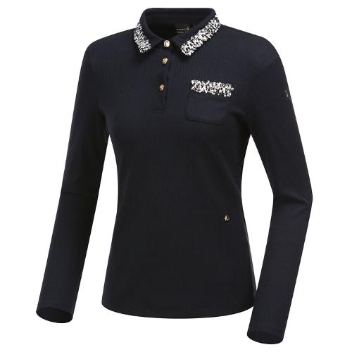 [와이드앵글] 여성 클럽스칸딕 트위드배색 카라 긴팔 티셔츠 WWW19236Z1