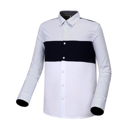 [와이드앵글] 남성 배색 스트레치 긴팔 셔츠 (NAVY) WMU17472N4