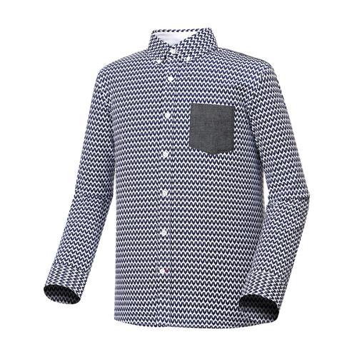 [와이드앵글] 남성 프린트 스트레치 셔츠 (NAVY) WMU17473N4