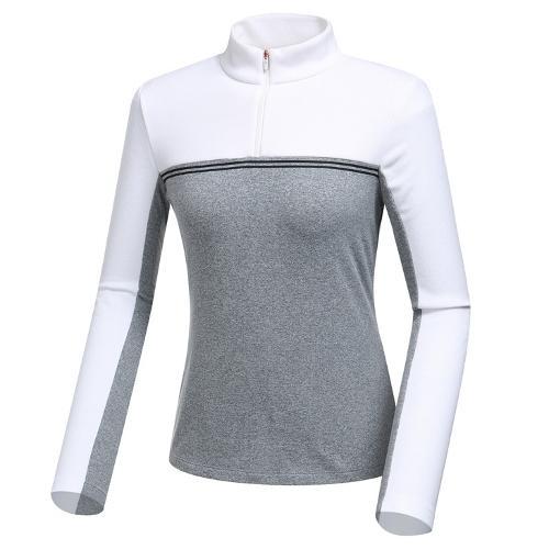 [와이드앵글] 여성 블럭형 기모 집업 긴팔 티셔츠 WWW19205C4