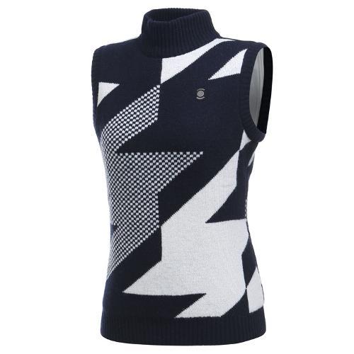 [와이드앵글] 여성 패턴 터틀넥 방풍베스트 WWW19K33N4