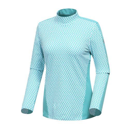 [와이드앵글] 여성 패턴 프린트 하이넥 긴팔 티셔츠 WWW18203G2