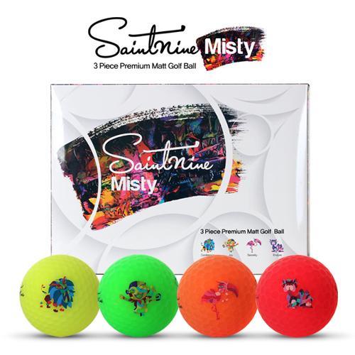 [2020년신제품]세인트나인正品 MISTY 미스티 3피스 4색칼라 프리미엄 비비드 무광 골프볼-12알