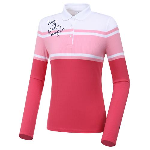[와이드앵글] 여성 블럭 스트라이프 카라 티셔츠 L WWP20235P5