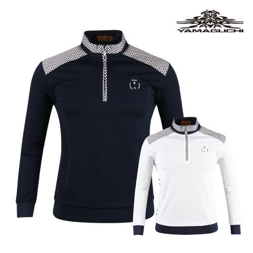 야마구찌 남성 패턴 배색 반집업 골프셔츠 YG20S401