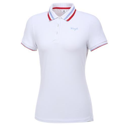 [와이드앵글] 여성 변형 조직 카라 반팔 티셔츠 L WWM20243W2