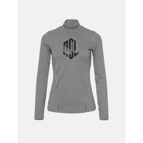 [빈폴골프] [NDL라인] 여성 블랙 하운드투스 로고 하이넥 티셔츠 (BJ0241L455)